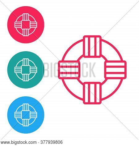 Red Line Lifebuoy Icon Isolated On White Background. Lifebelt Symbol. Set Icons In Circle Buttons. V