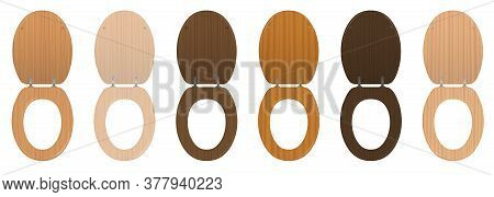 Wooden Toilet Seats. Collection Of Different Textured Open Lavatory Lids From Various Trees - Elegan