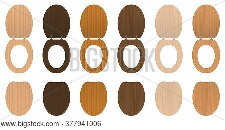 Toilet Seats. Wooden Set Of Different Textured Lavatory Lids, Lifted Up And Down - Old Fashioned Col