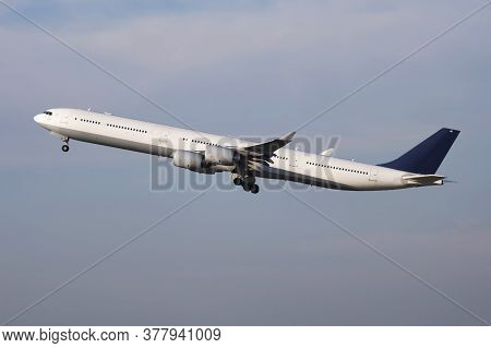 Untitled Passenger Plane Departure And Take Off From Airport Runway
