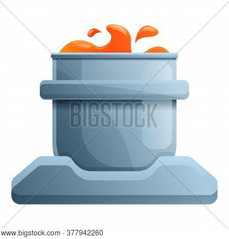 Metallurgy Boiling Pot Icon. Cartoon Of Metallurgy Boiling Pot Vector Icon For Web Design Isolated O