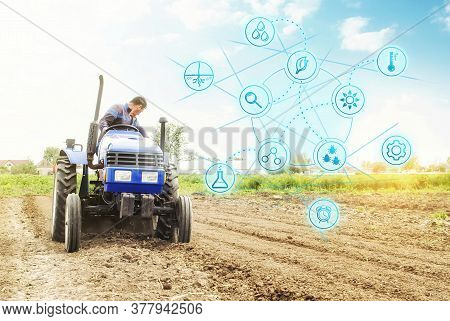 Futuristic Innovative Technology Pictogram And A Farmer On A Tractor. Science Of Agronomy. Technolog
