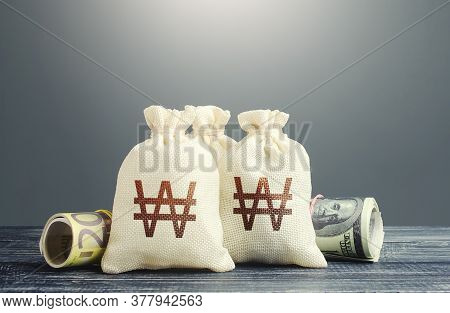 South Korean Won Money Bags And Cash. National Gold And Foreign Exchange Reserve. Economy Monetary P