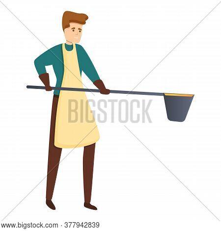 Blacksmith Working Icon. Cartoon Of Blacksmith Working Vector Icon For Web Design Isolated On White