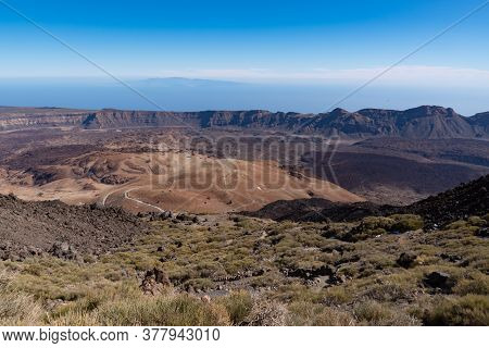 View From Teide то Las Canadas Caldera Volcano With Solidified Lava And Montana Blanca Mount. Teide