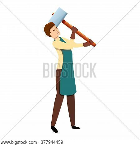 Blacksmith With Hammer Icon. Cartoon Of Blacksmith With Hammer Vector Icon For Web Design Isolated O