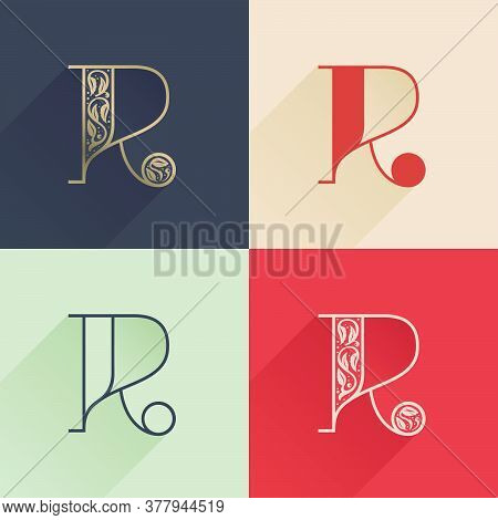 Classic R Letter Logo With Premium Decoration. Four Style Serif Font Set. Vector Icon Perfect To Use