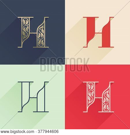 Classic H Letter Logo With Premium Decoration. Four Style Serif Font Set. Vector Icon Perfect To Use