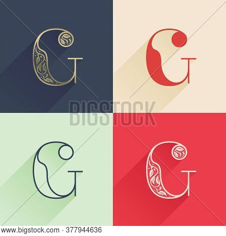 Classic C Letter Logo With Premium Decoration. Four Style Serif Font Set. Vector Icon Perfect To Use