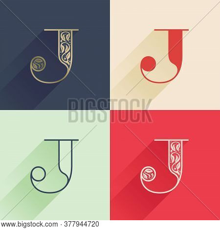 Classic J Letter Logo With Premium Decoration. Four Style Serif Font Set. Vector Icon Perfect To Use