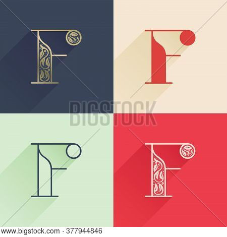 Classic F Letter Logo With Premium Decoration. Four Style Serif Font Set. Vector Icon Perfect To Use