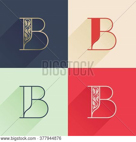 Classic B Letter Logo With Premium Decoration. Four Style Serif Font Set. Vector Icon Perfect To Use