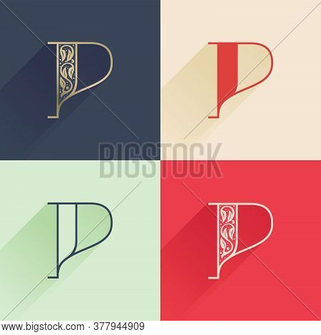 Classic P Letter Logo With Premium Decoration. Four Style Serif Font Set. Vector Icon Perfect To Use