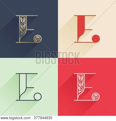 Classic E Letter Logo With Premium Decoration. Four Style Serif Font Set. Vector Icon Perfect To Use
