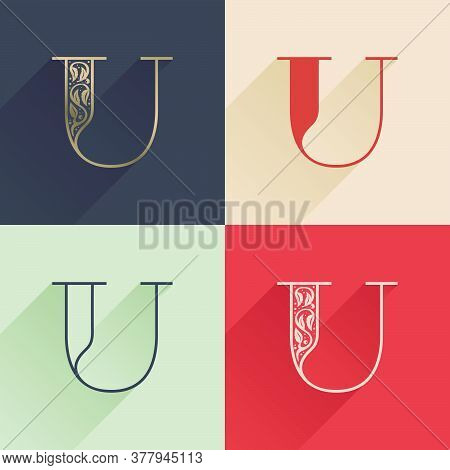Classic U Letter Logo With Premium Decoration. Four Style Serif Font Set. Vector Icon Perfect To Use