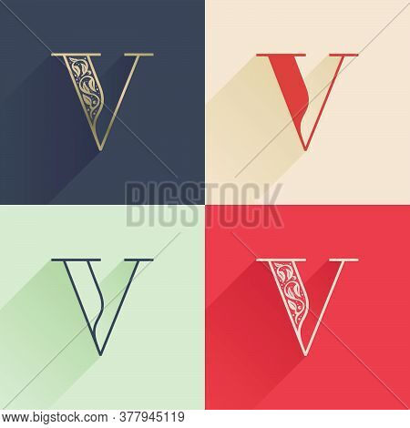 Classic V Letter Logo With Premium Decoration. Four Style Serif Font Set. Vector Icon Perfect To Use