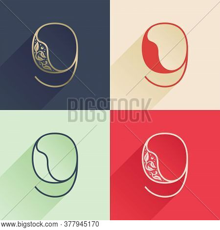 Classic Number Nine Logo With Premium Decoration. Four Style Serif Font Set. Vector Icon Perfect To