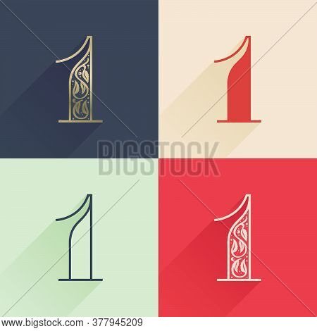 Classic Number One Logo With Premium Decoration. Four Style Serif Font Set. Vector Icon Perfect To U