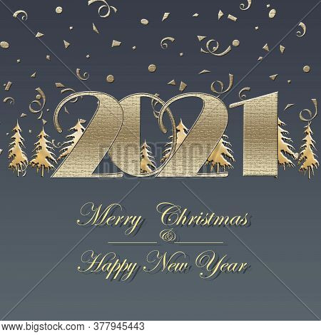Happy New 2021 Year Elegant Luxury Gold Greeting Card With Gold Christmas Trees And Text 2021 On Pas