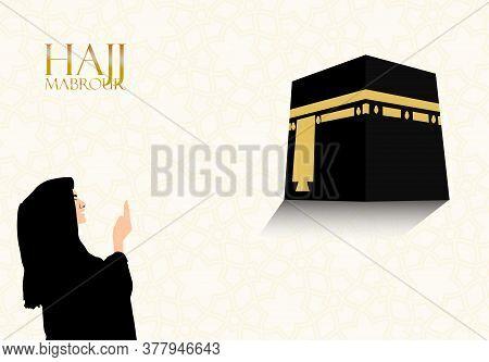 Vector Illustration Of A Devotees Praying Facing Towards Kaaba. Muslim Pilgrimage In Mecca Saudi Ara