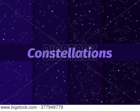 Constellations Seamless Pattern Set. Starry Night Sky Map. Cluster Of Stars And Galaxies. Deep Space