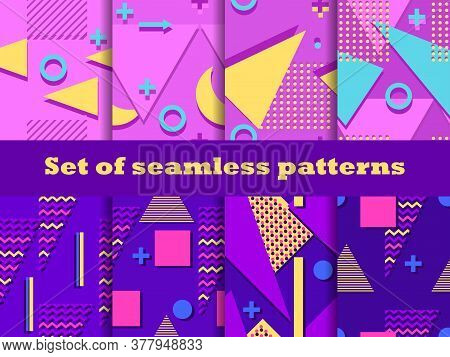 Memphis Seamless Patterns Set. Geometric Elements Of Memphis In The Style Of The 80s. Colorful Backg