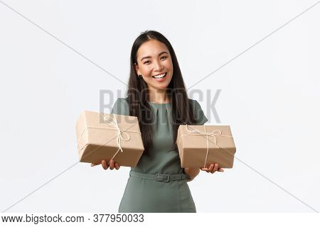 Smiling Successful Small Business Owner Working From Home With Handmade Products, Packing Delivery I