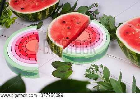 Wooden Watermelon. Childrens Wooden Toys. Toy Rainbow Made Of Natural Wood For A Small Child. Colorf