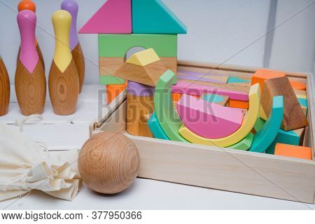 Childrens Wooden Toys In Bright Colors. Bright Toys For Children Made Of Natural Wood. Safe Toys For