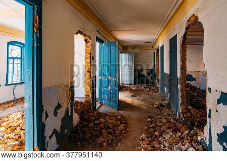 Interior Of Messy Dirty Old Abandoned Building