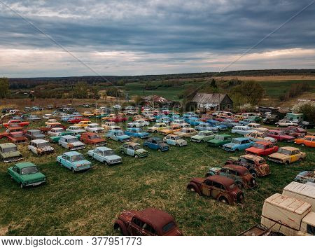 Old Rusty Abandoned Retro Cars, Aerial View, Tula Region, Chernousovo