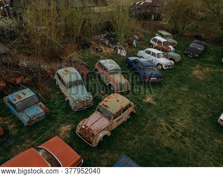Old Rusty Abandoned Retro Cars, Aerial View, Tula Region, Chernousovo, Russia, May 04 2020