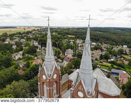Aerial View Of Church Of St. George In Vilkija Town Lithuania