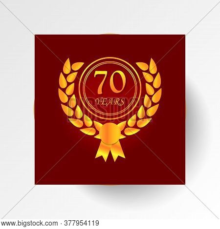 Anniversary, 70 Years Multicolored Icon Button. Can Be Used For Web, Logo, Mobile App, Ui, Ux