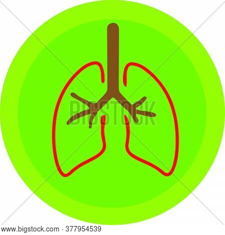 Red Color Human Lungs Design On Green Color Background Medical Vector