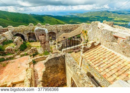 Aerial Panorama Of Ruins Of Volterraio Castle, The Ancient Fortification On Elba Island, Tuscany, It