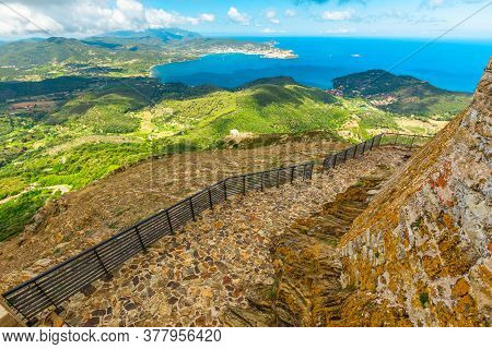 Aerial View From Top Of The Never Conquered Italian Castle Volterraio. Oldest Fortification On Elba