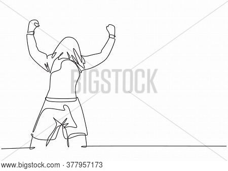 One Single Line Drawing Of Young Football Player Celebrating His Goal Scoring With Covering His Head