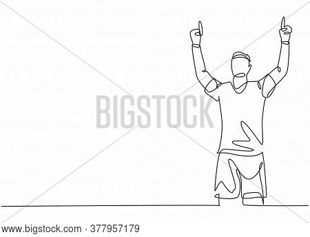 One Single Line Drawing Of Young Football Player Feels Gratitude And Pointing The Fingers To The Sky