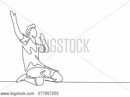 Single Continuous Line Drawing Of Young Sporty Soccer Player Raises His Hands Up On The Field After