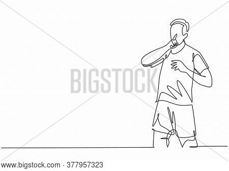 Single Continuous Line Drawing Of Young Sporty Soccer Player Makes Quiet Gesture With His Finger To