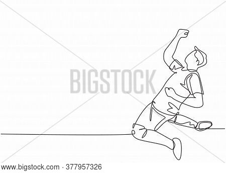 Single Continuous Line Drawing Of Young Sporty Football Player Punching His Fist Hands Up To The Air