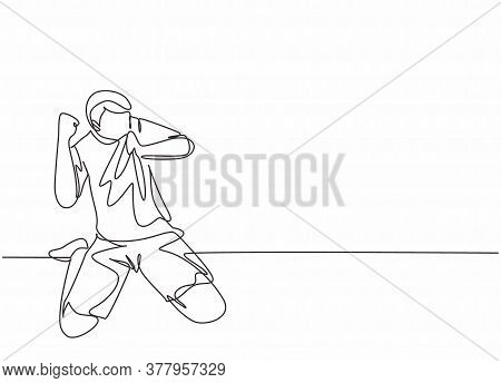 One Continuous Line Drawing Of Young Soccer Player Kissing The Badge On His Jersey And Raises Fist H