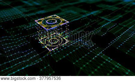Abstract Cyberpunk City. Big Data Technology Background. Microchip And Computer Parts. City Of The F