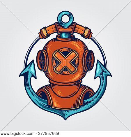 Divers Helmet And Anchor Logo Scuba Tattoo Helmet Illustrations.