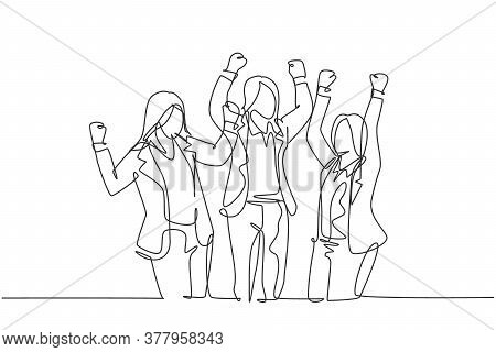 One Continuous Line Drawing Of Young Happy Businesswomen Prancing With Joy At The Meeting Room Toget