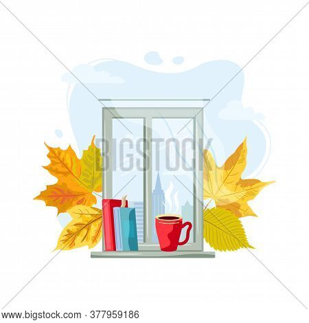 City View Window With Hot Drink Mug, Books And Falled Leaves. Cozy Fall And Autumn Concept. Stay Hom