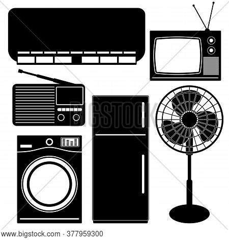 Set Of Black Icons Household Appliances And Electronic Devices. Vector.