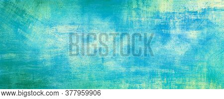 Abstract Blue Vintage Cement Wall Background With Scratched, Pastel Color, Modern Background Concret