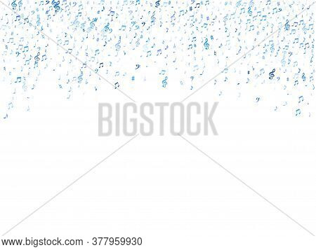 Blue Flying Musical Notes Isolated On White Backdrop. Cute Musical Notation Symphony Signs, Notes Fo